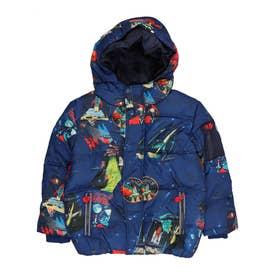 【キッズコレクション】オーバーサイズのプリント入りボーイズフードジャケット (ブルー)