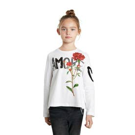 【キッズコレクション】花柄プリントとスパンコール付き長袖Tシャツ (ホワイト)