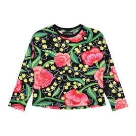 【キッズコレクション】花柄プリントのバットスリーブTシャツ (グレー/ブラック)
