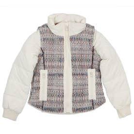 【キッズコレクション】ふかふか素材とまだら模様のウール素材を組み合わせたガールズショートジャケット (ホワイト)