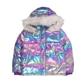 【キッズコレクション】光沢感のある色彩のガールズふかふかジャケット (ピンク/レッド)