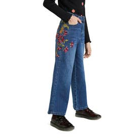 【キッズコレクション】花柄刺繍入りワイドレッグのガールズジーンズ (ブルー)