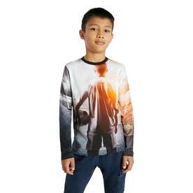 【キッズコレクション】写真プリント入りコットン素材のボーイズTシャツ (グレー/ブラック)