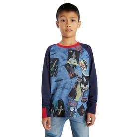 【キッズコレクション】ラグランスリーブのオーガニックコットン素材ボーイズTシャツ (グレー/ブラック)