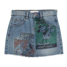【キッズコレクション】ミッキーマウスのビンテージプリント入りデニムショートスカート (ブルー)