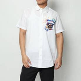 シンプルな白半袖シャツ (WHITE)