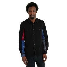 プリントパッチワークの袖とデニム素材のメンズシャツ (グレー/ブラック)
