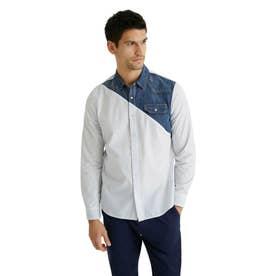 デニムディテール ポプリンシャツ (ホワイト)