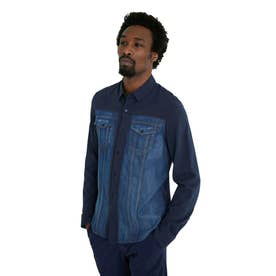 コットンとデニム素材のメンズシャツ (ブルー)