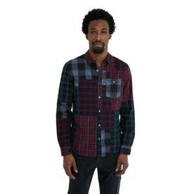 タータンチェックパッチワークのプリント入りメンズシャツ (ブルー)