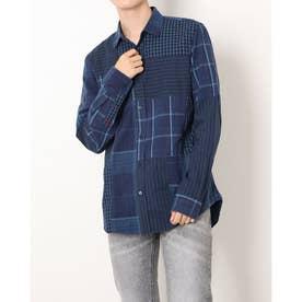 チェック柄メンズレギュラーシャツ (ブルー)