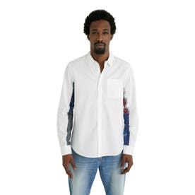 プリントパッチワーク袖のメンズシャツ (ホワイト)