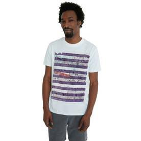 ボーダー柄プリント入り100%コットン素材のメンズTシャツ (ホワイト)