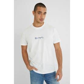 アーティなサーフィンプリントのメンズTシャツ (ホワイト)