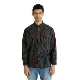 プリント入りコットン素材のメンズシャツ (グレー/ブラック)
