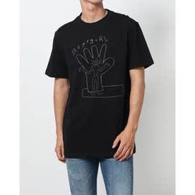 抽象的な手のプリント入りメンズ半袖Tシャツ (グレー/ブラック)
