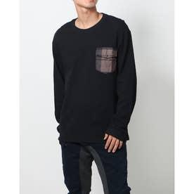 ポケット付きメンズ長袖Tシャツ (グレー/ブラック)