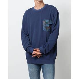 ポケット付きメンズ長袖Tシャツ (ブルー)