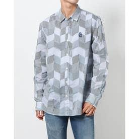 ひし形とライン模様のメンズシャツ (ホワイト)