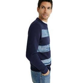 デニムパッチ スウェットシャツ (ブルー)