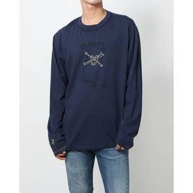 センターにイラスト入りコットン素材のメンズTシャツ (ブルー)