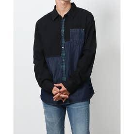 タータンチェックとデニム素材のメンズハイブリッドシャツ (グレー/ブラック)
