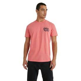 アーティなプリント入り100%コットン素材のメンズTシャツ (オレンジ)
