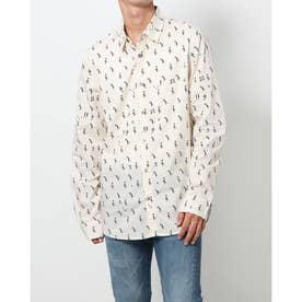 プリント入りメンズレギュラーシャツ (ホワイト)
