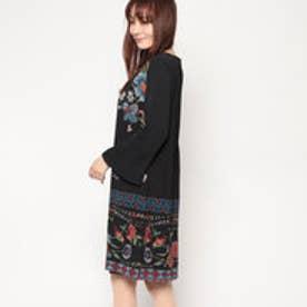 長袖シフォン花柄ドレス (BLACK)