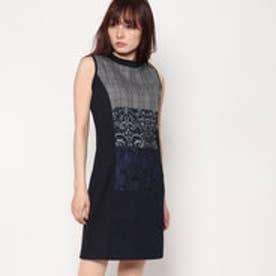 ノースリーブ異素材ミックスドレス (BLUE)