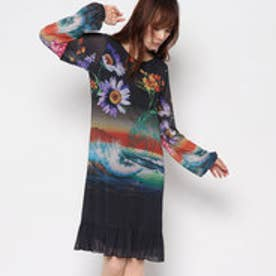 アート柄長袖ドレス (BLACK)