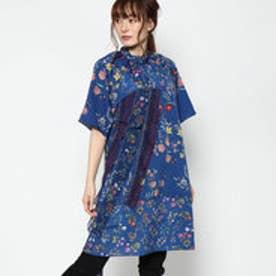 ボータイ付き花柄ドレス (BLUE)