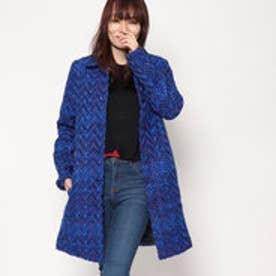 シンプルAラインコート (ブルー)