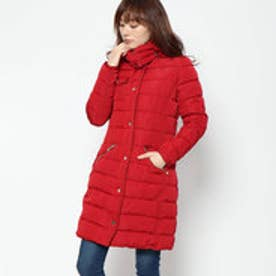 WOMAN WOVEN PADDED LONG OVERCOAT (Pink/Red)