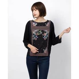 Tシャツ3/4袖 (グレー/ブラック)