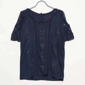 クロシェレース付き半袖Tシャツ (Blue/Navy)
