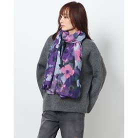 水彩画風花柄の長方形ストール (ブルー)