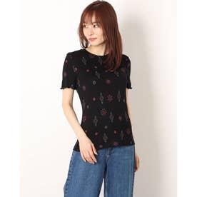 花柄&ひし形プリントのレディーススリムTシャツ (グレー/ブラック)