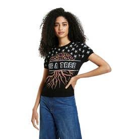 虹色ジャカードのレディースニット素材Tシャツ (グレー/ブラック)