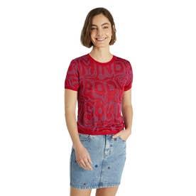 ジャカードニット素材のレディースTシャツ (ピンク/レッド)