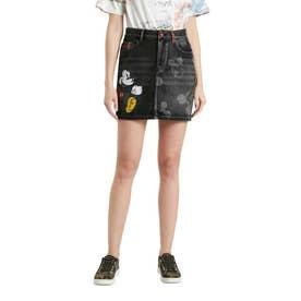 ミッキーマウスのイラスト&タータンチェックのディテール付きレディースデニムミニスカート (ブラック)
