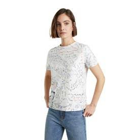 ボリマニアプリント入り100%コットン素材のレディースTシャツ (ホワイト)