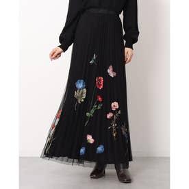 ロング丈でダブルレイヤードデザインのレディースプリントプリーツスカート (グレー/ブラック)