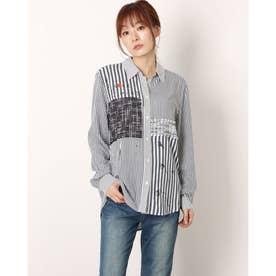 ストライプ&レタリングプリントのレディースシャツ (グレー/ブラック)