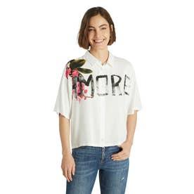 オーバーサイズシルエットとレタリングプリントのレディースショートシャツ (ホワイト)
