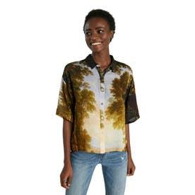 デジタルプリントのレディースショートシャツ (グリーン)