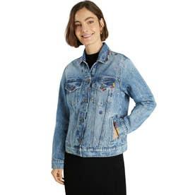 曼荼羅模様の刺繍入りレディーススリムデニムジャケット (ブルー)