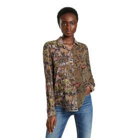 ダブルアニマルプリントのレディースシャツ (グリーン)