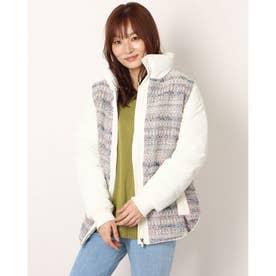 まだら模様ツイード&ふかふか素材のレディースショートジャケット (ホワイト)