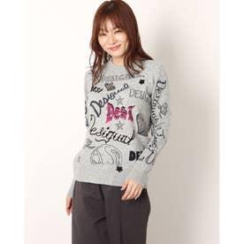 ロゴマニアプリントのレディースニットセーター (グレー/ブラック)